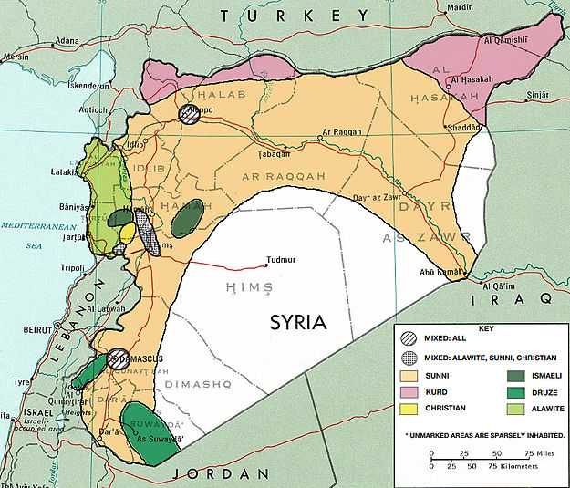 Demographic Map of Syria. Note particularly the concentration of Alawis on the coast.