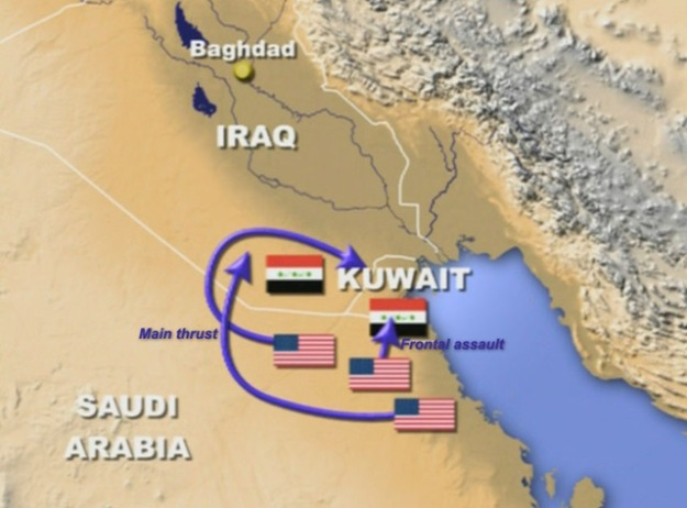 "The invasion path of Operation Desert Storm, the Allied effort to get Saddam Hussein out of Kuwait. Launched from Saudi Arabia, it tricked the Iraqis with the direct move into western Kuwait, which they were expecting, and the ""hook"" through the Iraqi desert into northern Kuwait, which they were not."