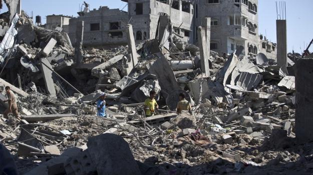 Aftermath of the fighting in Shejaiya, Gaza, July 20, 2014