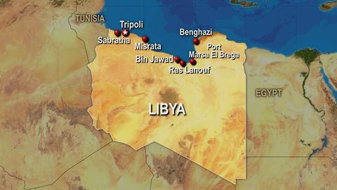 Major cities in Libya, predominantly Tripoli in the west and Benghazi in the east