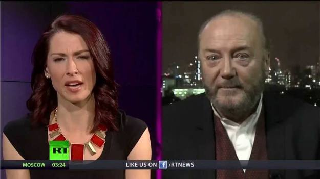 Abby Martin and George Galloway: Both host conspiracy-laden shows on RT