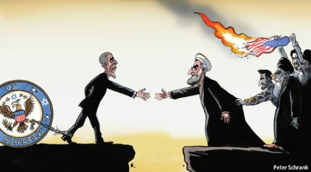 Economist cartoon showing Obama restrained by his hardliners (the Jewish-controlled Congress) and Rowhani restrained by his hardliners