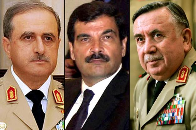 Defence Minister Daoud Rajha, General Assef Shawkat and General Hassan Ali Turkmani