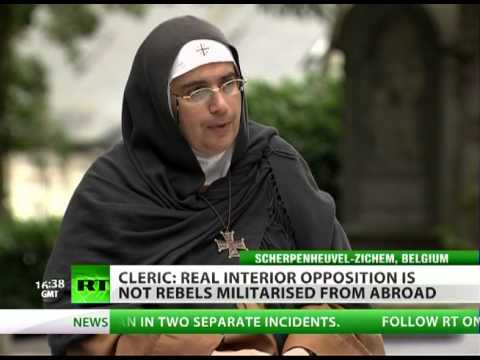 Mother Agnes Mariam on RT. An agent of the regime, she dismissed Syria's rebels as a foreign conspiracy.