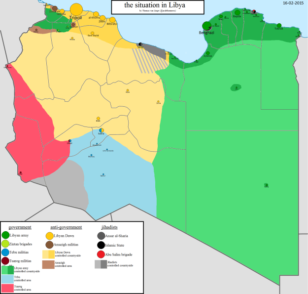 Map of militia control in Libya by Thomas van Linge, Feb. 17, 2015