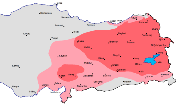 Armenian-majority areas (dark pink) and areas with a substantial Armenian population (light pink), 1914