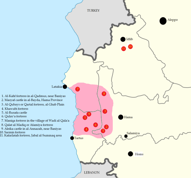 The statelet of the Nizaris or Assassins, based on their castles and the surrounding populace