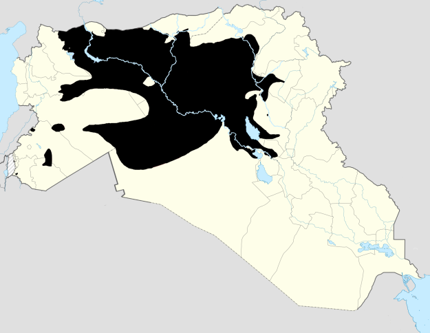 Territory conrtolled by the Islamic State in Syria and Iraq