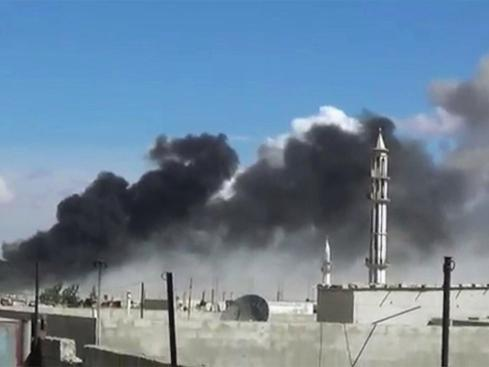 Aftermath of a Russian airstrike against U.S.-supported moderate rebels in Talbiseh, Homs (AP)