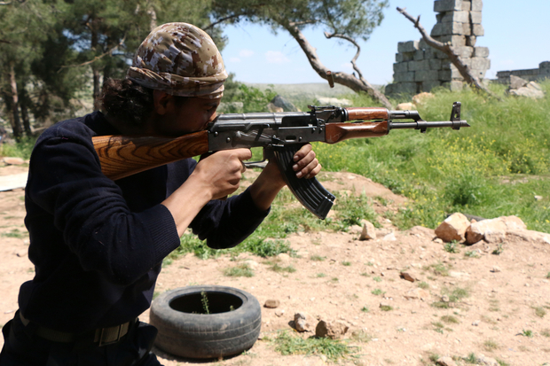 A rebel fighter from the Free Syrian Army's
