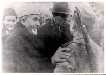 Amin al-Husseini surveying the Handzar Division, November 1943