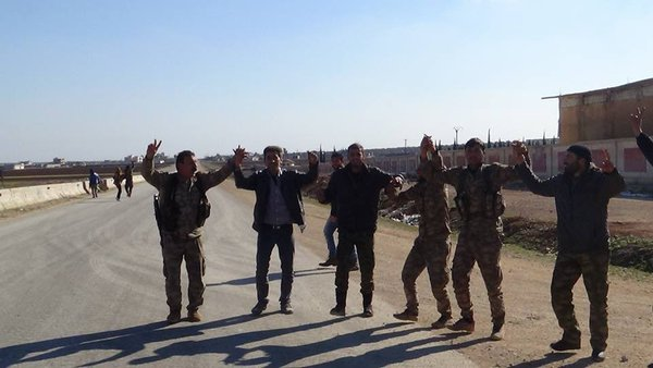 PYD/PKK fighters after they took over the Mannagh airbase on February 10, 2016.