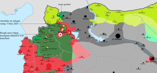 Key: Red (regime), Green (rebels and Jabhat al-Nusra), Yellow-Green (Kurdish PYD), Black (Islamic State). [Original map by Thomas van Linge]
