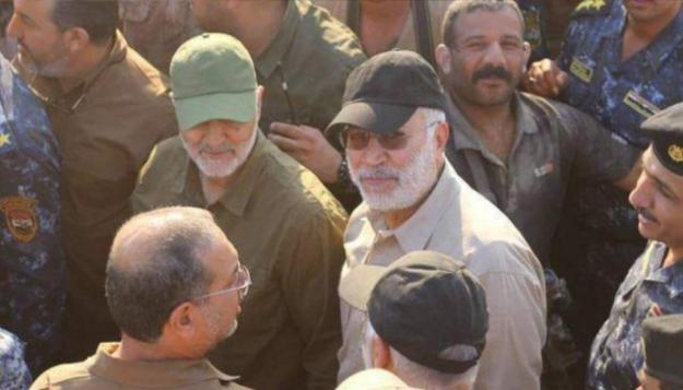 Qassem Suleimani and Jamal Ebrahimi (Abu Mahdi al-Muhandis) touring a battlefront in Fallujah