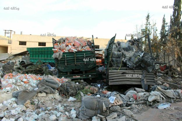 Humanitarian convoy in Aleppo after the airstrikes by pro-regime coalition, 20 September 2016