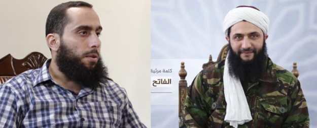 The leader of Ahrar al-Sham, Ali al-Umar (Abu Ammar); the leader of Jabhat Fatah al-Sham, Ahmad al-Shara (Abu Muhammad al-Jolani)
