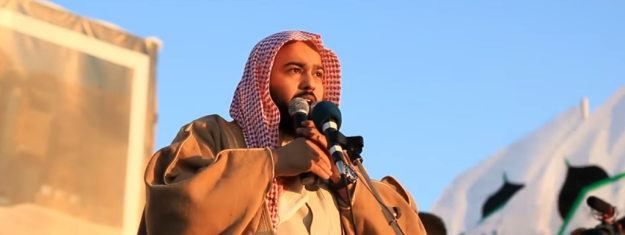 Abdallah al-Muhaysini at a rally for Hay'at Tahrir al-Sham, 3 February 2017