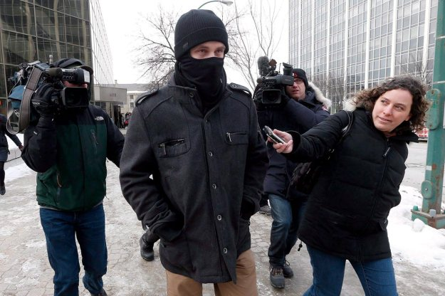 Aaron Driver leaving court after being issued a peace bond, February 2016